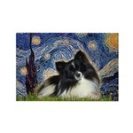 Starry Night / Pomeranian (b&w) Rectangle Magnet (