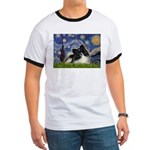 Starry Night / Pomeranian (b&w) Ringer T