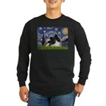 Starry Night / Pomeranian (b&w) Long Sleeve Dark T
