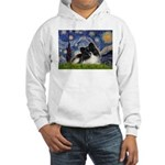 Starry Night / Pomeranian (b&w) Hooded Sweatshirt