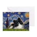 Starry Night / Pomeranian (b&w) Greeting Cards (Pk