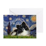 Starry Night / Pomeranian (b&w) Greeting Card