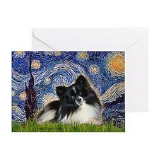 Starry Night / Pomeranian (b&w) Greeting Card