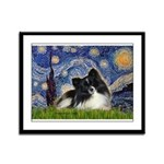 Starry Night / Pomeranian (b&w) Framed Panel Print