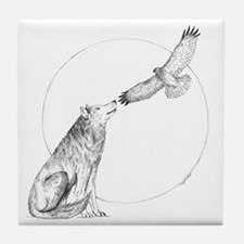 Wolf and Hawk Tile Coaster