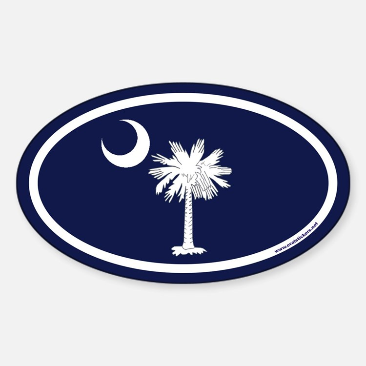 South Carolina Flag Oval Sticker with Palm Tree