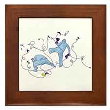 Capoeira Game Blue Framed Tile