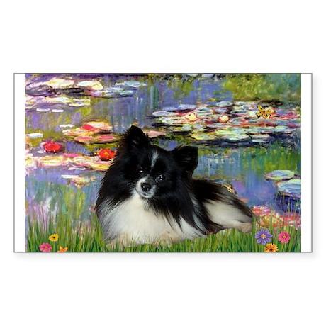 Lilies / Pomeranian (b&w) Sticker (Rectangle)