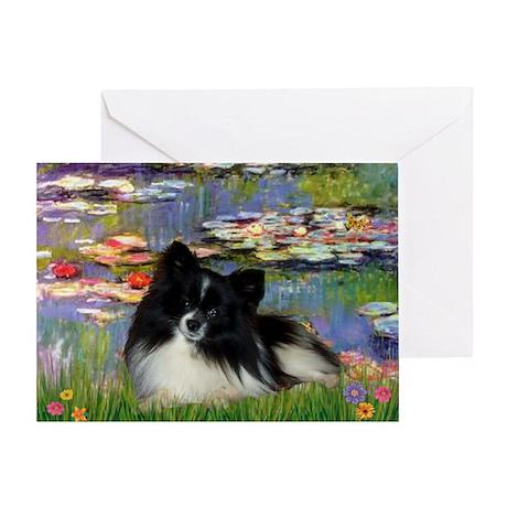 Lilies / Pomeranian (b&w) Greeting Card