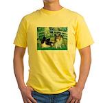 Bridge / 2 Pomeranians Yellow T-Shirt