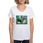 Bridge / 2 Pomeranians Women's V-Neck T-Shirt