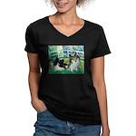 Bridge / 2 Pomeranians Women's V-Neck Dark T-Shirt