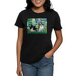 Bridge / 2 Pomeranians Women's Dark T-Shirt