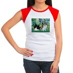 Bridge / 2 Pomeranians Women's Cap Sleeve T-Shirt