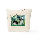 Bridge / 2 Pomeranians Tote Bag