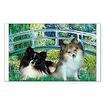 Bridge / 2 Pomeranians Sticker (Rectangle)