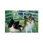 Bridge / 2 Pomeranians Rectangle Magnet (10 pack)