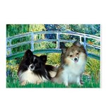 Bridge / 2 Pomeranians Postcards (Package of 8)