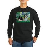 Bridge / 2 Pomeranians Long Sleeve Dark T-Shirt