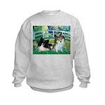 Bridge / 2 Pomeranians Kids Sweatshirt