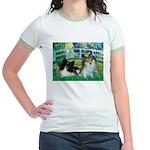 Bridge / 2 Pomeranians Jr. Ringer T-Shirt