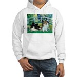 Bridge / 2 Pomeranians Hooded Sweatshirt