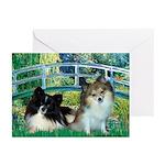 Bridge / 2 Pomeranians Greeting Cards (Pk of 10)