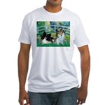 Bridge / 2 Pomeranians Fitted T-Shirt
