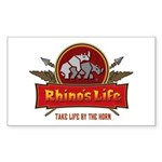 Rhino's Life Rectangle Sticker