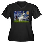 Starry Night / Dalmation Women's Plus Size V-Neck
