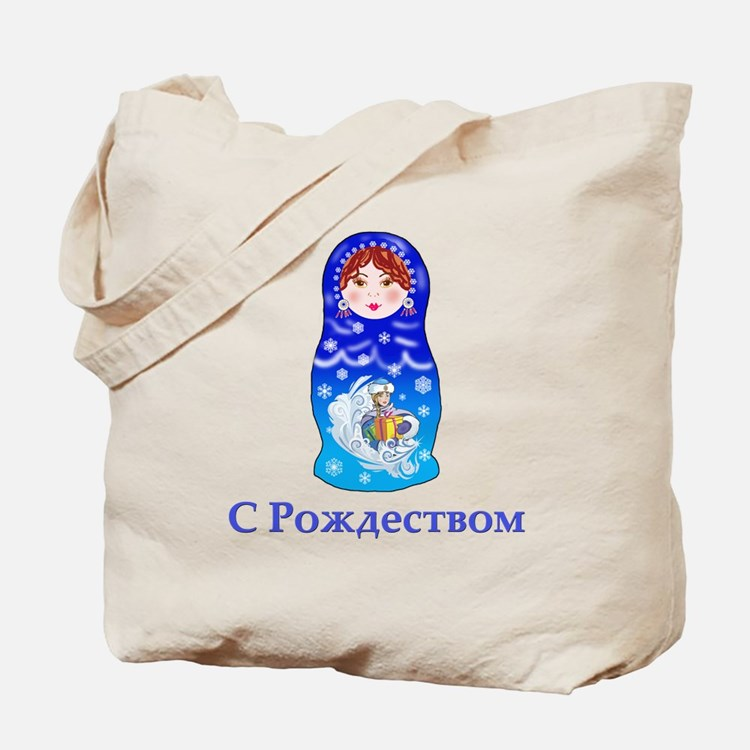 Russian Christmas Nesting Doll Tote Bag