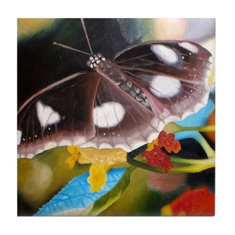 Butterfly Oil Painting Tile Coaster