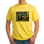 Starry Night / Pomeranian(b&t) Yellow T-Shirt