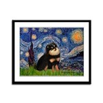 Starry Night / Pomeranian(b&t) Framed Panel Print