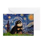 Starry Night / Pomeranian(b&t) Greeting Cards (Pk