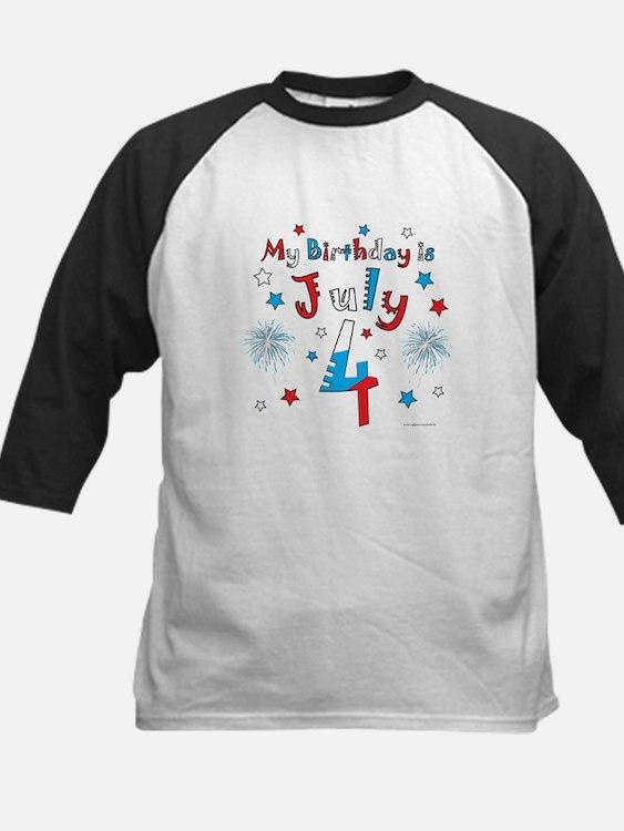 July 4th Birthday Red, White, Blue Kids Baseball J