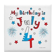July 4th Birthday Red, White, Blue Tile Coaster