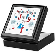 July 4th Birthday Red, White, Blue Keepsake Box
