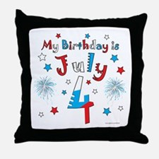 July 4th Birthday Red, White, Blue Throw Pillow