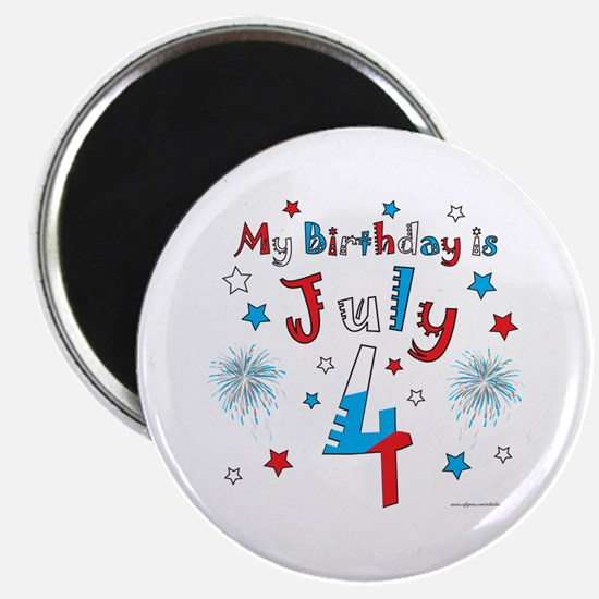 July 4th Birthday Red, White, Blue Magnet