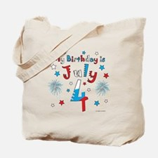 July 4th Birthday Red, White, Blue Tote Bag