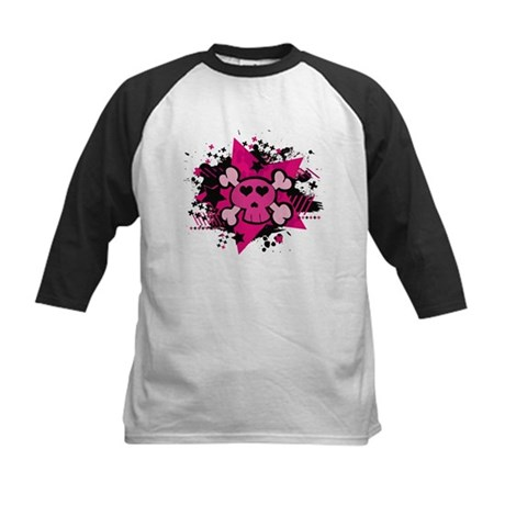 Pink Starry Love Skull Kids Baseball Jersey