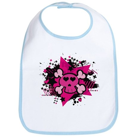 Pink Starry Love Skull Bib