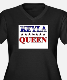 KEYLA for queen Women's Plus Size V-Neck Dark T-Sh