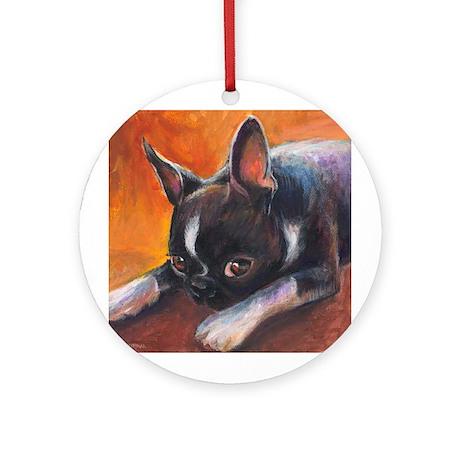 Boston Terrier dog #10 Keepsake (Round)