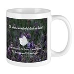 White Butterfly on Purple Flower - Mug