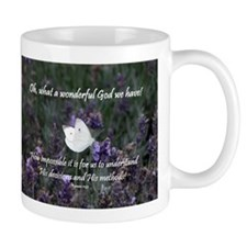White Butterfly on Purple Flower - Mug