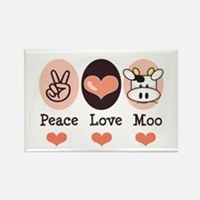 Peace Love Moo Cow Rectangle Magnet