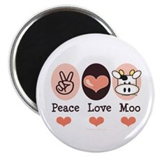 """Peace Love Moo Cow 2.25"""" Magnet (10 pack)"""