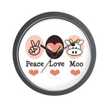 Peace Love Moo Cow Wall Clock